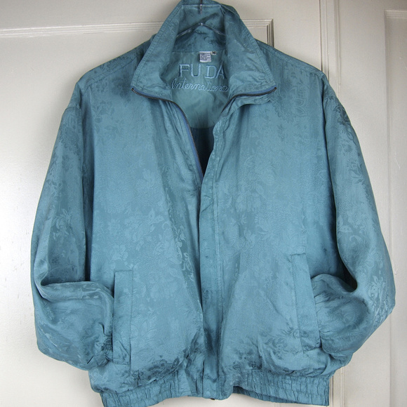 FUDA International Jackets & Blazers - VTG Seafoam Silk Jacquard LightweightBomber Jacket